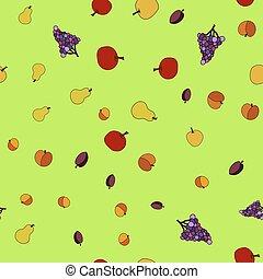 modèle, seamless, fruit, main, vecteur, dessiné