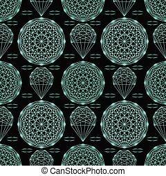 modèle, seamless, géométrique, cristal, mandala., vecteur, répéter