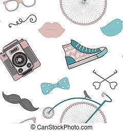 modèle, seamless, hipster, retro, vendange, griffonnage