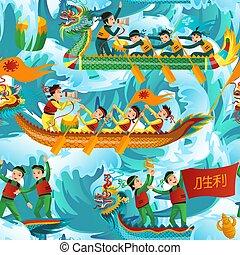 modèle, seamless, illustration, dragons, vecteur, bateaux
