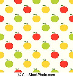 modèle, seamless, jaune, apples., vecteur, rouge vert