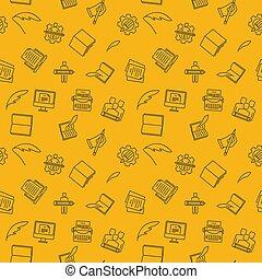 modèle, seamless, jaune, rewriting, vecteur, copywriting