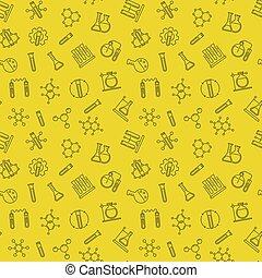 modèle, seamless, jaune, vecteur, fond, ligne, chimie