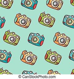 modèle, seamless, main, appareil photo, photo, dessiné