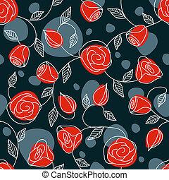 modèle, seamless, main, roses, dessiné, rouges