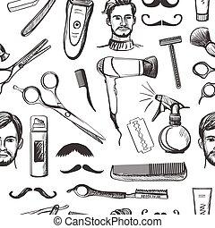 modèle, seamless, main, salon coiffure, retro, dessiné
