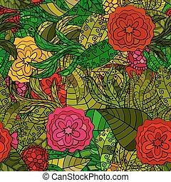 modèle, seamless, main, vecteur, floral, dessiné
