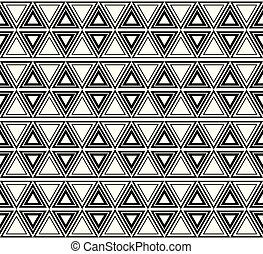 modèle, seamless, noir, ethnique, blanc, triangles