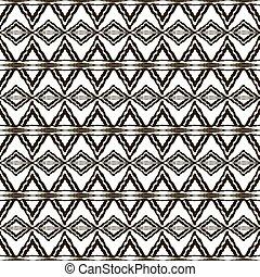 modèle, seamless, noir, motifs, ethnique, blanc