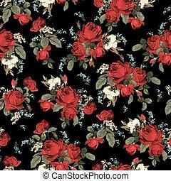 modèle, seamless, roses, arrière-plan noir, floral, rouges