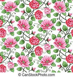 modèle, seamless, roses