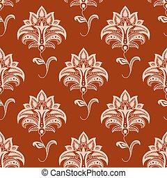 modèle, seamless, rouge foncé, oriental, fond, floral