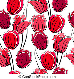modèle, seamless, rouges, tulipes