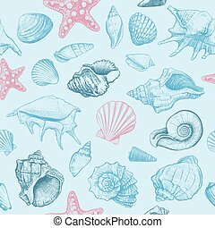 modèle, seamless, seashells