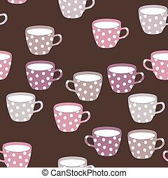 modèle, seamless, teacups.