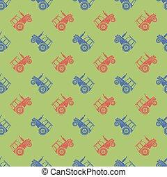 modèle, seamless, tracteur, icône