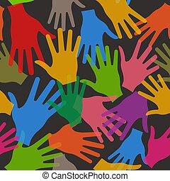 modèle, seamless, vecteur, collaboration, fond, mains, noir