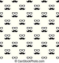 modèle, seamless, vecteur, moustaches, nerd, lunettes