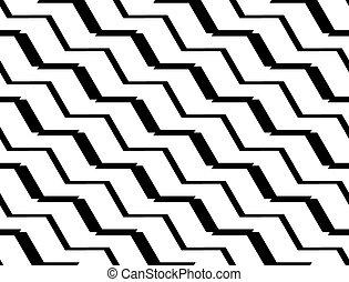 modèle, seamless, zigzag, conception, monochrome, géométrique