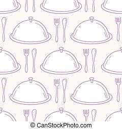 modèle, servir, seamless, main, fond, dessiné, dish., cuisine