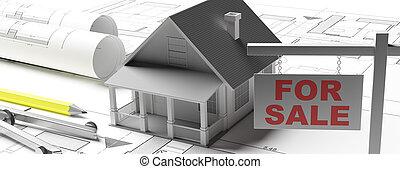 modèle, signe, illustration, arrière-plan., vente, 3d, maison, modèles