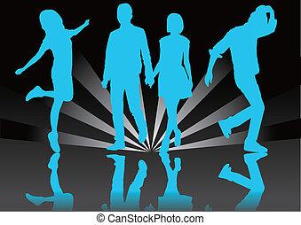 modèle, silhouette, couple