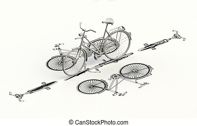 modèle, sommet, vélo, plan, 3d