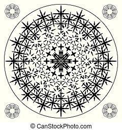 modèle, spiky, lignes, noir, dangereux, cross-pieces, blanc, reproduire, angulaire