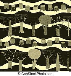 modèle, tapisserie, seamless, arbres, gris