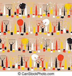 modèle, tapisserie, seamless, arbres, rang, couleurs