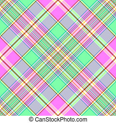 modèle, tartan, diagonal, seamless, green-pink