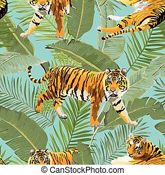 modèle, tigres, seamless, exotique, fond, vecteur, paume, fleurs, feuilles