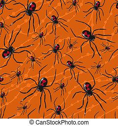 modèle, toxique, halloween, seamless, vecteur, araignées