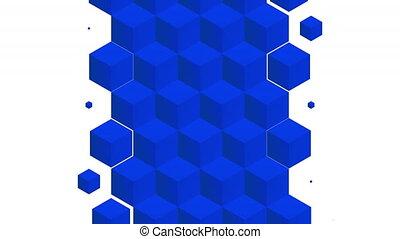 modèle, transition, isométrique, luma, bleu, cubes, inclure...
