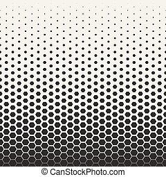 modèle, transition, seamless, halftone, vecteur, noir, grille, blanc, hexagonal