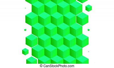 modèle, transition, vert, isométrique, luma, cubes, inclure...