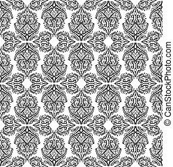 modèle, tribal, seamless, boho, arrière-plan noir, ornaments., blanc, géométrique