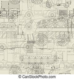 modèle, véhicules, conception, seamless