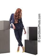 modèle, vêtements, poser, business, roux