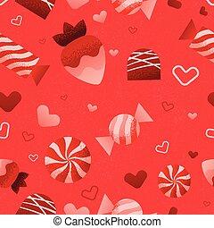 modèle, valentines, seamless, jour