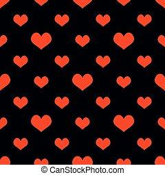modèle, vecteur, arrière-plan noir, carreau, cœurs, rouges