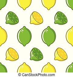 modèle, vecteur, citron, seamless, chaux