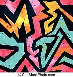 modèle, vecteur, clair, graffiti, arrière-plan noir, seamless, illustration, psychédélique