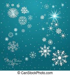 modèle, vecteur, flocons neige, fond, hiver