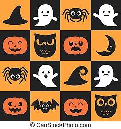 modèle, vecteur, halloween