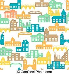 modèle, vecteur, houses., seamless, illustration