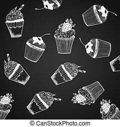 modèle, vecteur, petits gâteaux, illustration