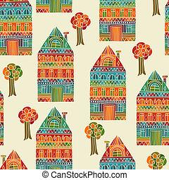 modèle, vecteur, seamless, arbres, maisons