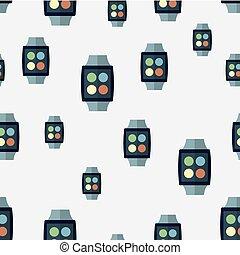 modèle, vecteur, seamless, intelligent, watches.
