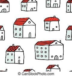 modèle, vecteur, seamless, maisons